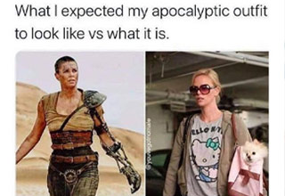 a meme about apocalyptic outfit reality vs expectations