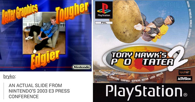 funny memes and pics -  a real image from Microsoft game relase -  Tony Hawk Potater 2 photoshop meme