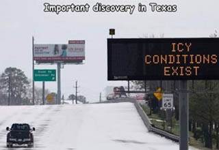 Winter storm - Important discovery in Texas Faltet Hoto Conditions Exist Grant Bar Speed Limit 65