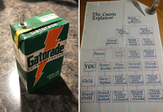 cool finds, cool discoveries |vintage gatorade juice box - chart showing breakdown of cousins the cousin explainer