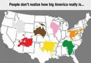 map of the united states containing all other continents - people don't realize how big america really is