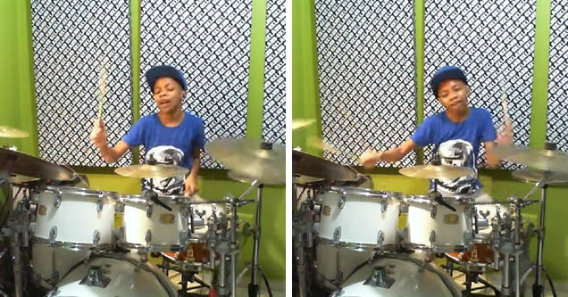 Drum prodigy Dominic McNabb shows off his skills