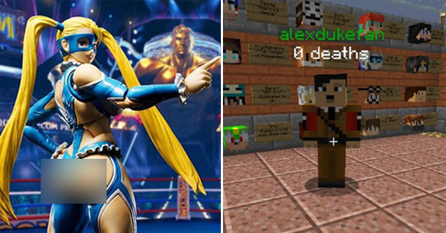 controversial video game skins -  Minecraft Hitler Skin - Street Fighter V's Mika Skin