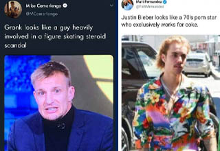 photo caption - Mike Camerlengo Gronk looks a guy heavily involved in a figure skating steroid scandal 24 Nov 19 Twitter for iPhone | justin bieber raising arizona - Matt Fernandez Mernandez Justin Bieber looks a 70's porn star who exclusively works for c