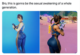 funny gaming memes - bro this is going to cause an entire generation of sexual awakening - Chun-Li Fortnite skin