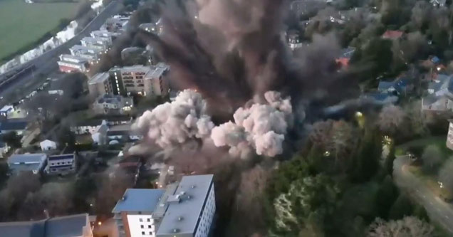 a huge explosion from a bomb being detonated