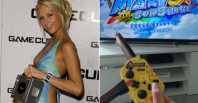 reason the Gamecube actually slapped -  Paris Hilton holding a Gamecube - Resident Evil 4 Gamecube chainsaw controller