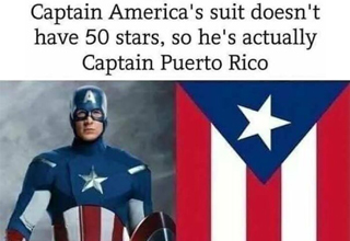captain america's suit doesn't have 50 stars so he's actually captain puerto rico