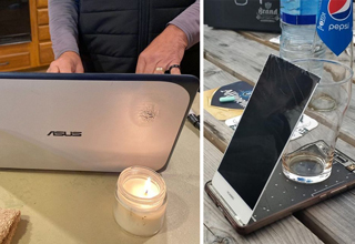 dad burning his laptop on a candle - broke phone screen propped up by beer glass