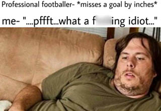 idiot watching tv - Professional footballer misses a goal by inches me
