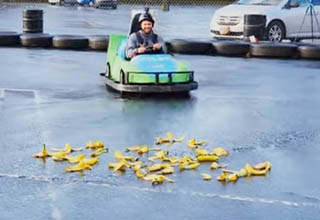 YouTuber tests slipperiness of banana peels on a go-kart