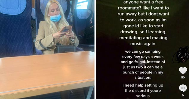 a blonde woman on her phone wearing a mask under her nose while on a train or bus