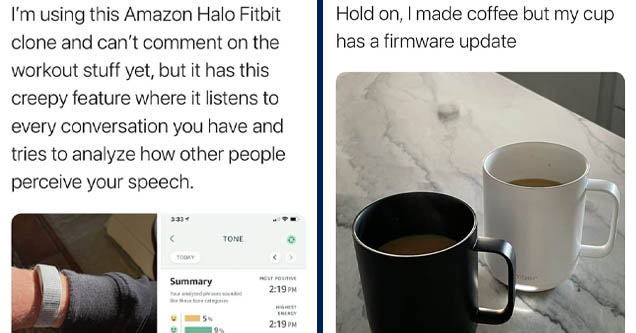 media - Quinn Nelson I'm using this Amazon Halo Fitbit clone and can't comment on the workout stuff yet, but it has this creepy feature where it listens to every conversation you have and tries to analyze how other people perceive your speech.   coffee cu