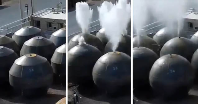 tankers get shaped into spheres using explosive hydroforming