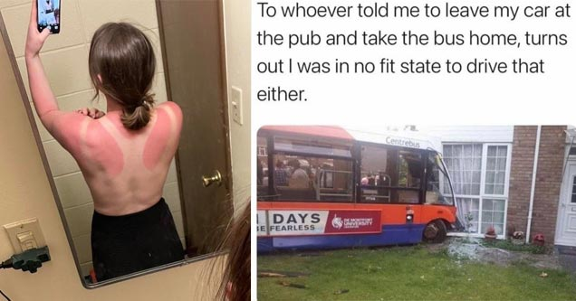 a woman with bad sunburn and a meme about crashing a buss