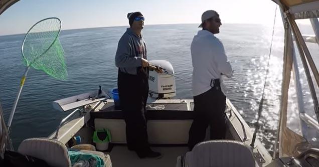 two men fishing when an earthquake hits