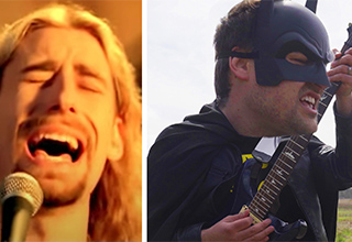 batman playing guitar and the lead singer for nickleback.