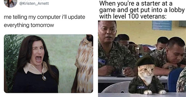 funny gaming memes -  me telling my computer I'll update everything tomorrow - winking agatha meme - cat in the army -  when you're a starter at a game and get put into a lobby with level 100 veterans