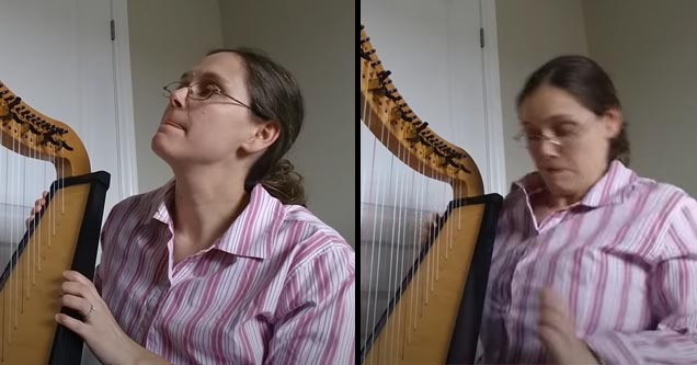 a woman playing a harp is startled when a string snaps