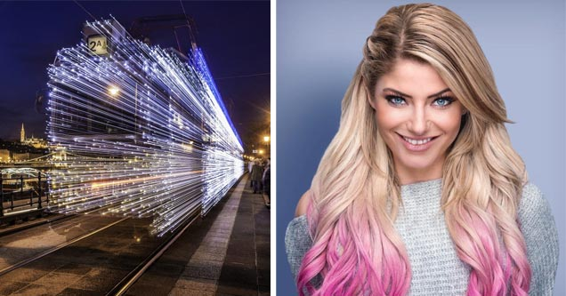 a pretty blonde woman with pink and blond hair and a cool timelapse photo of a train