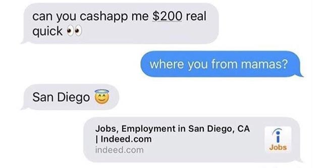a screenshot of a text conversation with a woman asking for money