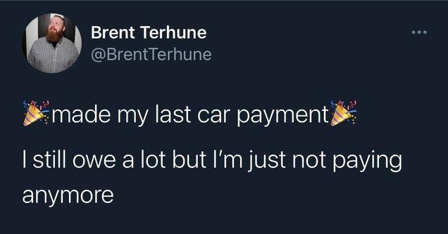 a twitter post about making last payment