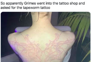 shoulder - Fearless Girl So apparently Grimes went into the tattoo shop and asked for the tapeworm tattoo