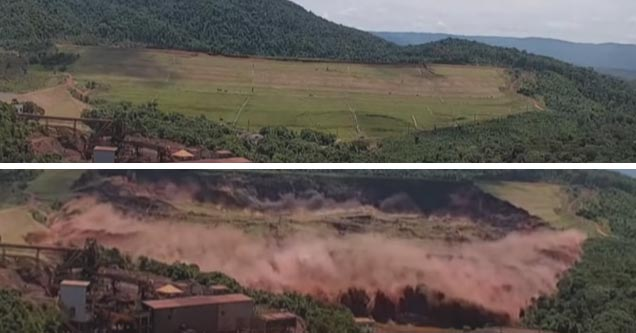 two photos of a dam in brazil breaking