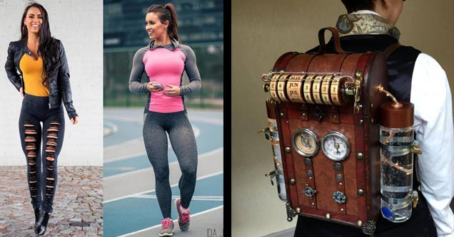 a hot chick in yoga pants and a steampunk backpack