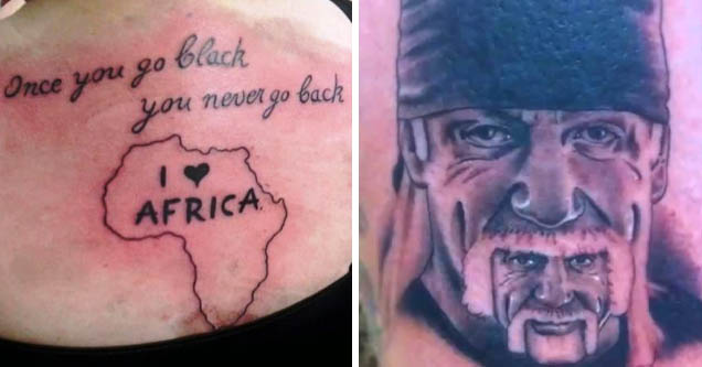 tattoo fails - black back Once you go you never go Africa | bad funny tattoo