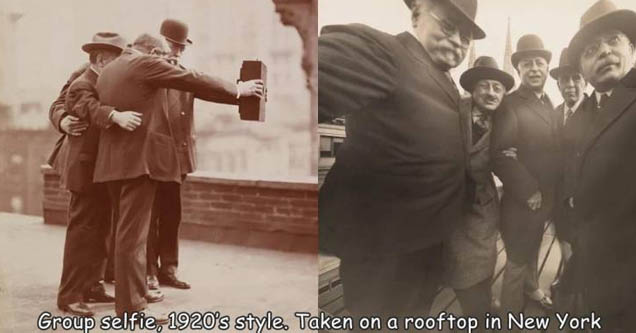 historic selfie - Group selfie, 1920's style. Taken on a rooftop in New York