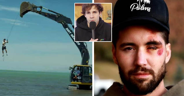 David Dobrik apologizing | Jeff Wittek swinging from excavator for one of Dobrik's stunts | Jeff Wittek shows his facial injuries as a result of Dobrik's excavator stunt
