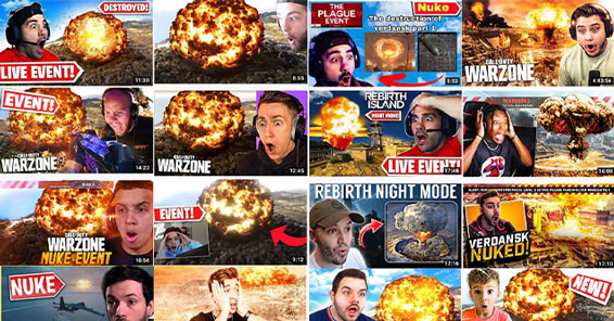 screenshot of YouTube thumbnails showing the Call of Duty Nuke event