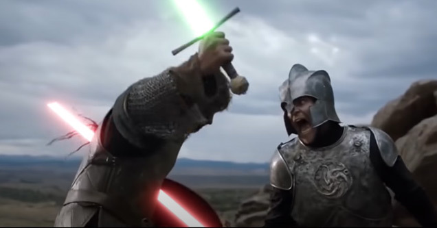 Game of thrones figures standing in battle stances with armed lightsabers