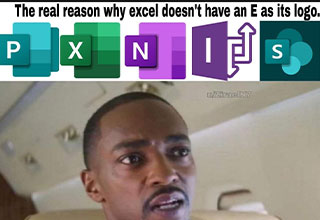 funny gaming memes -  the real reason Excel doesn't have an E as a logo -  Penis -  Anthony Maccy Damn' he right