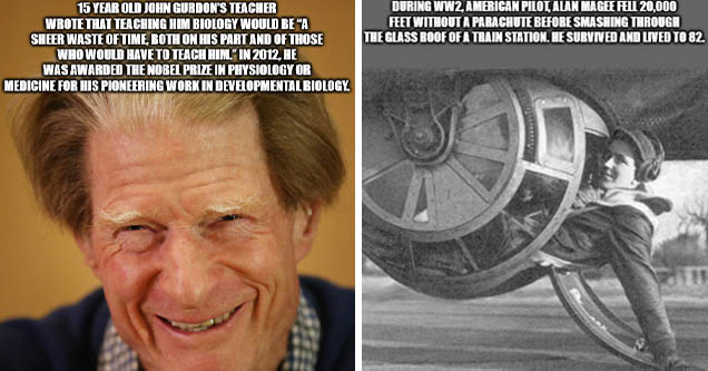 senior citizen - 15 Year Old John Gurdon'S Teacher Wrote That Teaching Him Biology Would Be A Sheer Waste Of Time, Both On His Part And Of Those Who Would Have To Teach Him | tire - During WW2, American Pilot, Alan Magee Fell 20,000 Feet Without A Parachu