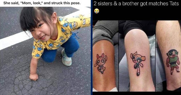 Child - She said, 'Mom, look,' and struck this pose. | power puff girls matching tattoos - 2 sisters & a brother got matches Tats 4721 Twitter for iPhone
