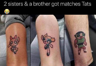 power puff girls matching tattoos - 2 sisters & a brother got matches Tats 4721 Twitter for iPhone