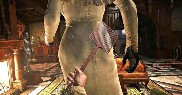spanking the big lady vampire in resident evil 8 the village -  Lady Dimitrescu being spanked with a fly swatter