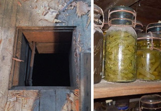 photo - hidden secret room under stairs photo - mysterious jars