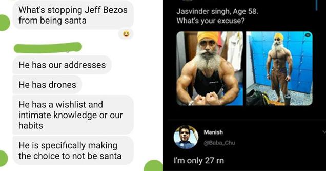 screenshot of bezos joke, jaswinder singh buff guy
