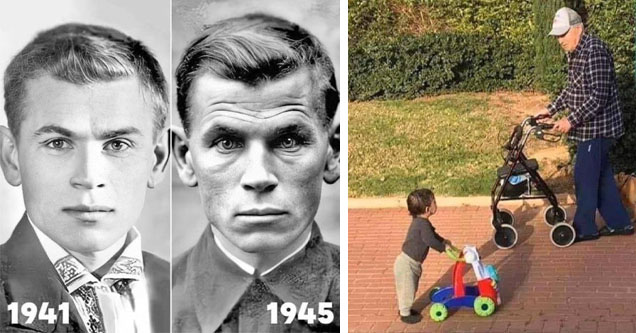 photo - WWII 1941-1945 comparison photo photo - old man walking by toddler