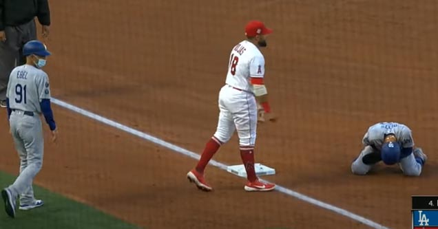 baseball player mookie betts gets hit in the balls
