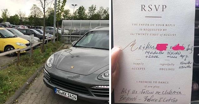 car and wedding invite