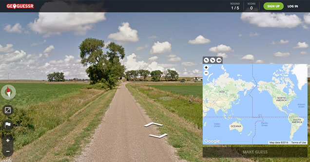 GeoGuesser is the GoogleMaps based online game that combines getting lost with finding yourself -  random road in the middle of nowhere -  geoguesser screen shot