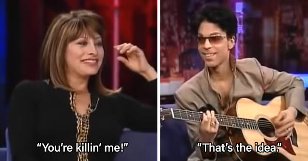 Prince gets interviewed by Maria Bartiromo