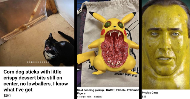 Items for sale on wish, including Picolas Cage, Weird Pikachu and Used Desert Sticks