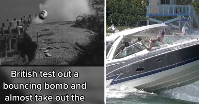 a British bouncing bomb coming at a camera man and a girl getting bounced off a boat