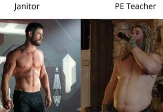 a thor janitor vs pe teacher meme