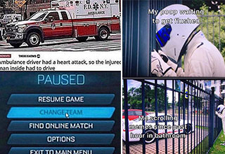 funny gaming memes -  ambulance memes -  the stig looking at his car -  poop in toilet memes